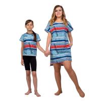 Платье голубое (газета) M-0056Г + Футболка детская голубая (газета) Д-0001Г