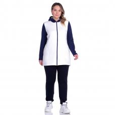 Жакет на молнии с капюшоном (белый с тёмно-синими рукавами) М-0104Б