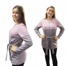 Жакет серо-розовый М-0100Р