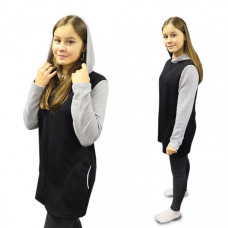 Жакет на молнии с капюшоном (чёрный с серыми рукавами) М-0104СС