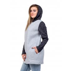 Жакет на молнии с капюшоном (серый с чёрными рукавами) М-0104СС