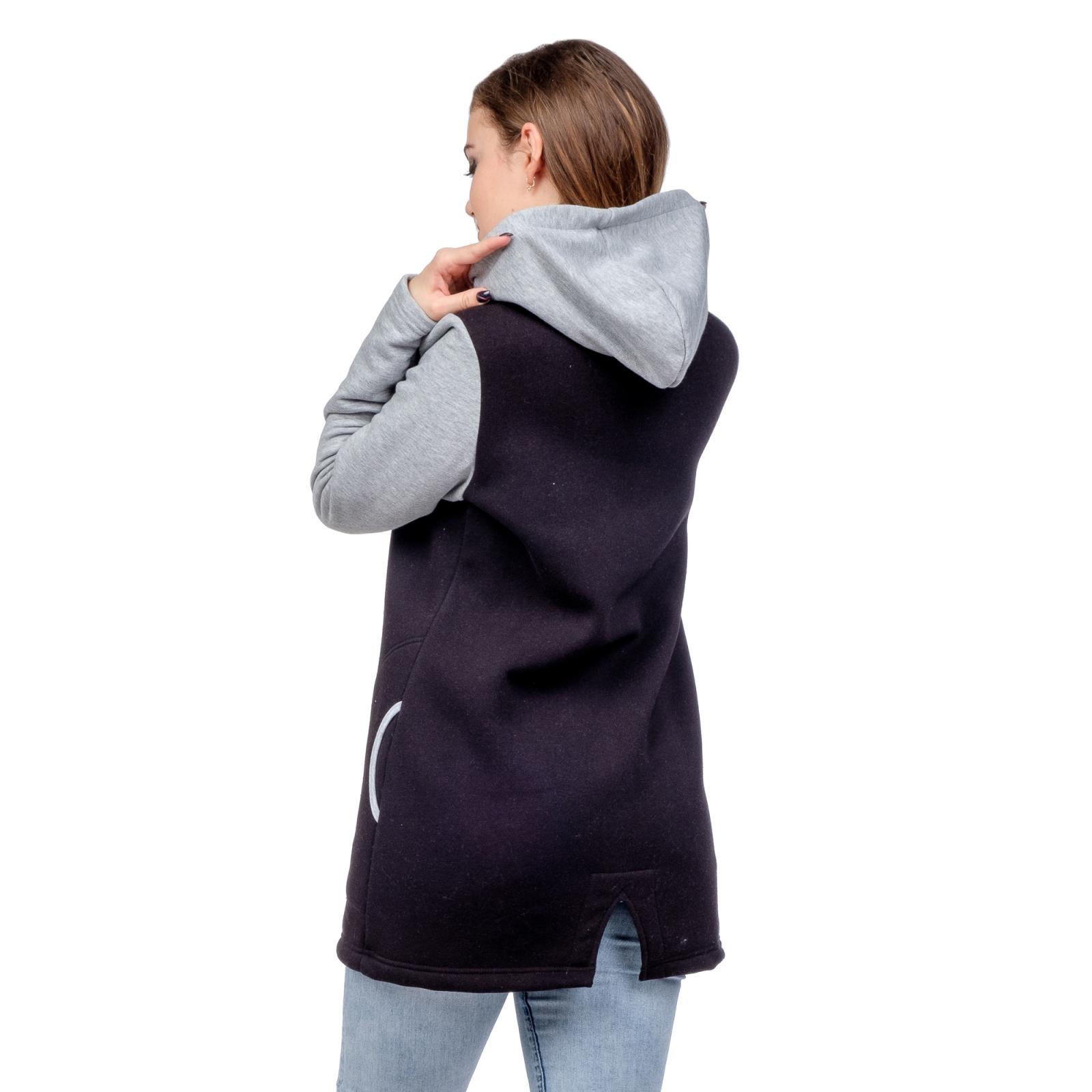 Жакет на молнии с капюшоном (чёрный с серыми рукавами) М-0104Ч