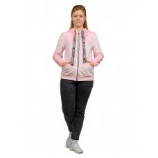 Кофта на молнии (бледно-розовый велюр) NICE М-0148Р