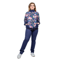 Костюм синий (кофта Цветы + брюки футер) М-0026ЦВ