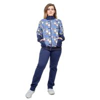 Костюм синий (кофта Клетка + брюки футер) М-0026С