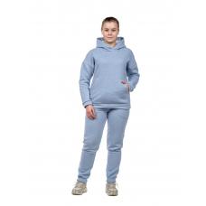 Костюм с начёсом Бледно-голубой меланж (худи+брюки) М-0186Г