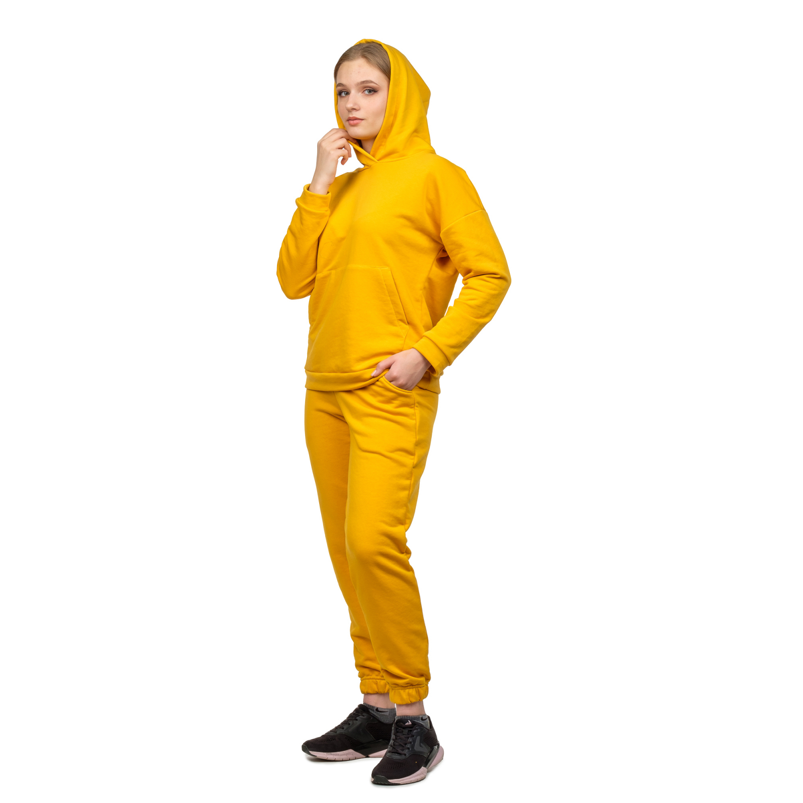 Костюм футер-петля Горчица (худи+брюки) М-0186ГОР