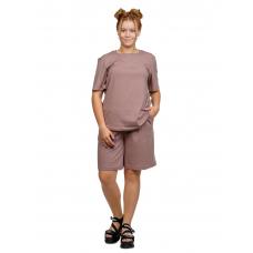 Костюм (футболка + шорты) коричневый М-0204КОР