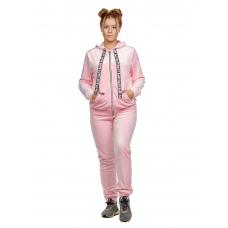 Костюм велюровый бледно-розовый (брюки+кофта на замке) М-0151Р