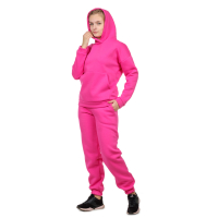 Костюм футер с начёсом Ярко-розовый (худи+брюки) М-0186Р