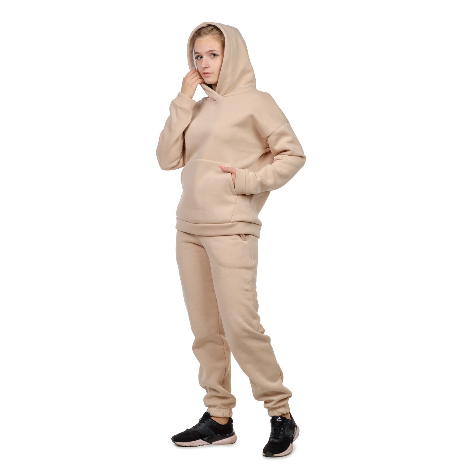 Костюм с начёсом Беж (худи+брюки) М-0186БЕЖ