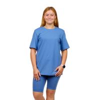 Костюм (футболка + велосипедки) Серо-голубой М-0145СС