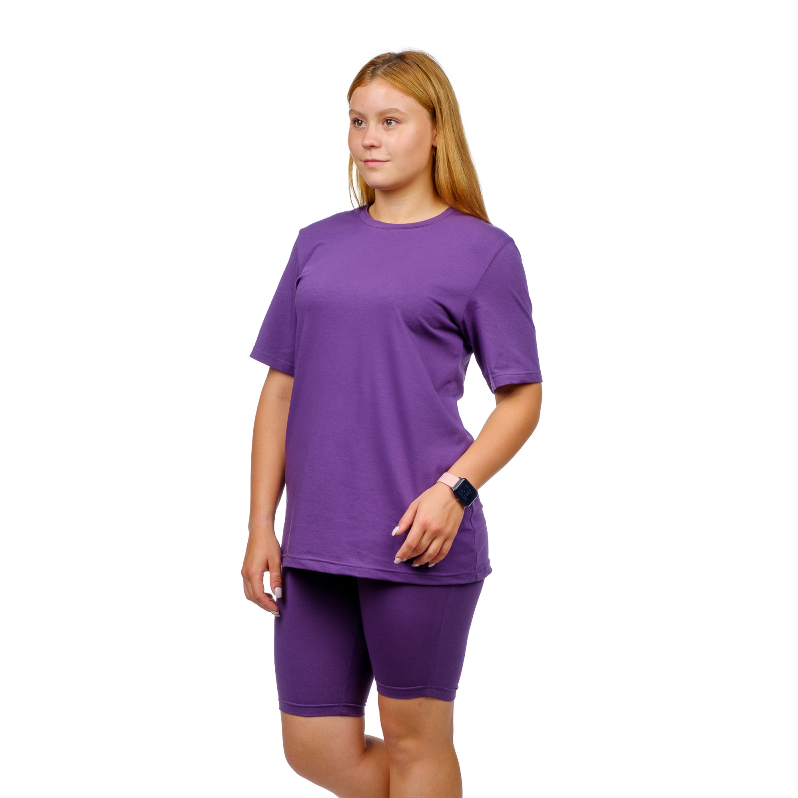 Костюм (футболка + велосипедки) Сирень М-0145СИР