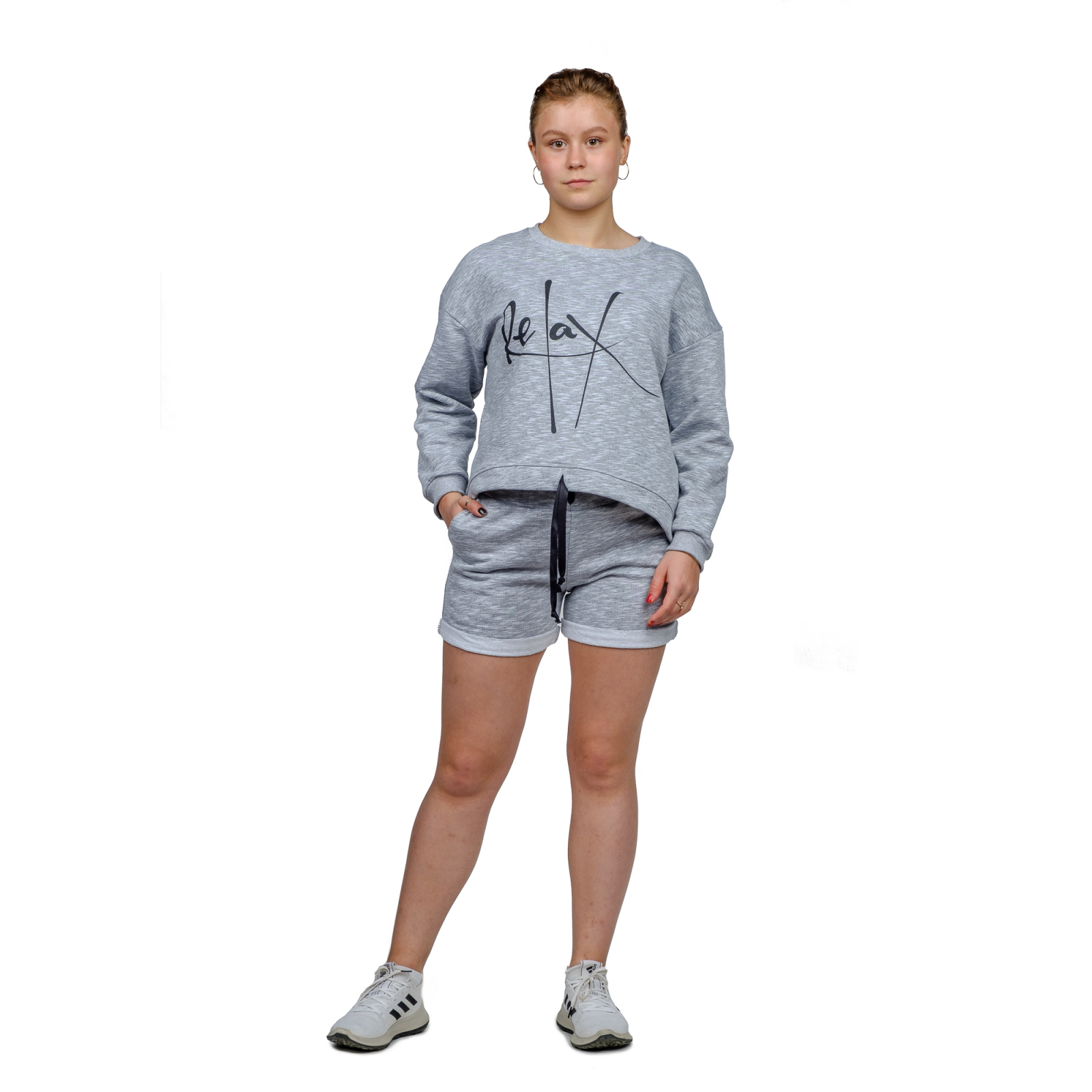 Костюм серый (футер) Релакс (шорты+кофта) М-0171СС