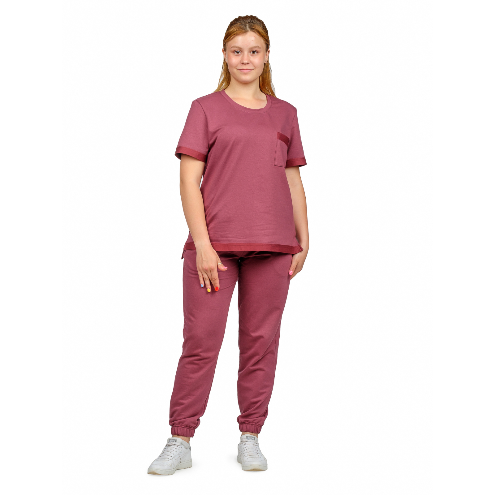 Костюм (футер 2-нитка) Бордо (футболка+брюки) М-0201БОР