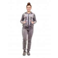 Костюм (велюр) Серый (брюки+кофта на замке) М-0151СС