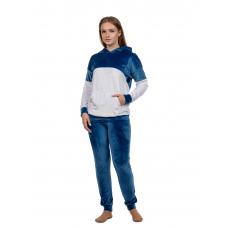 Костюм велюровый Индиго (брюки+кофта с капюшоном) М-0188С