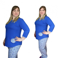 Костюм домашний синий (аппликация - цветок) брюки+блузка М-0017С