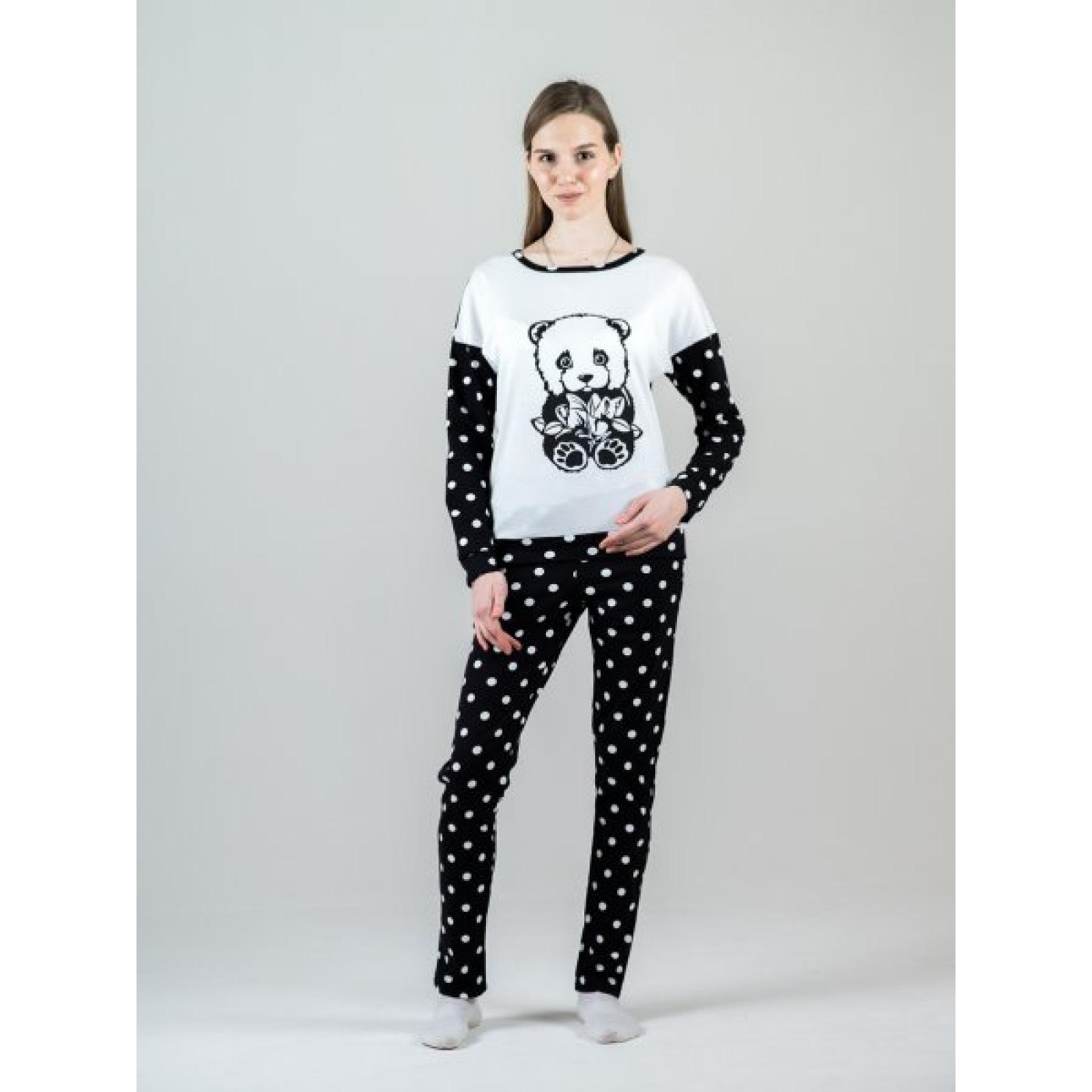 Костюм домашний Панда (чёрный, горох) М-0108