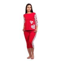 "Пижама с бриджами Love (аппликация ""сердце"") М-0027"