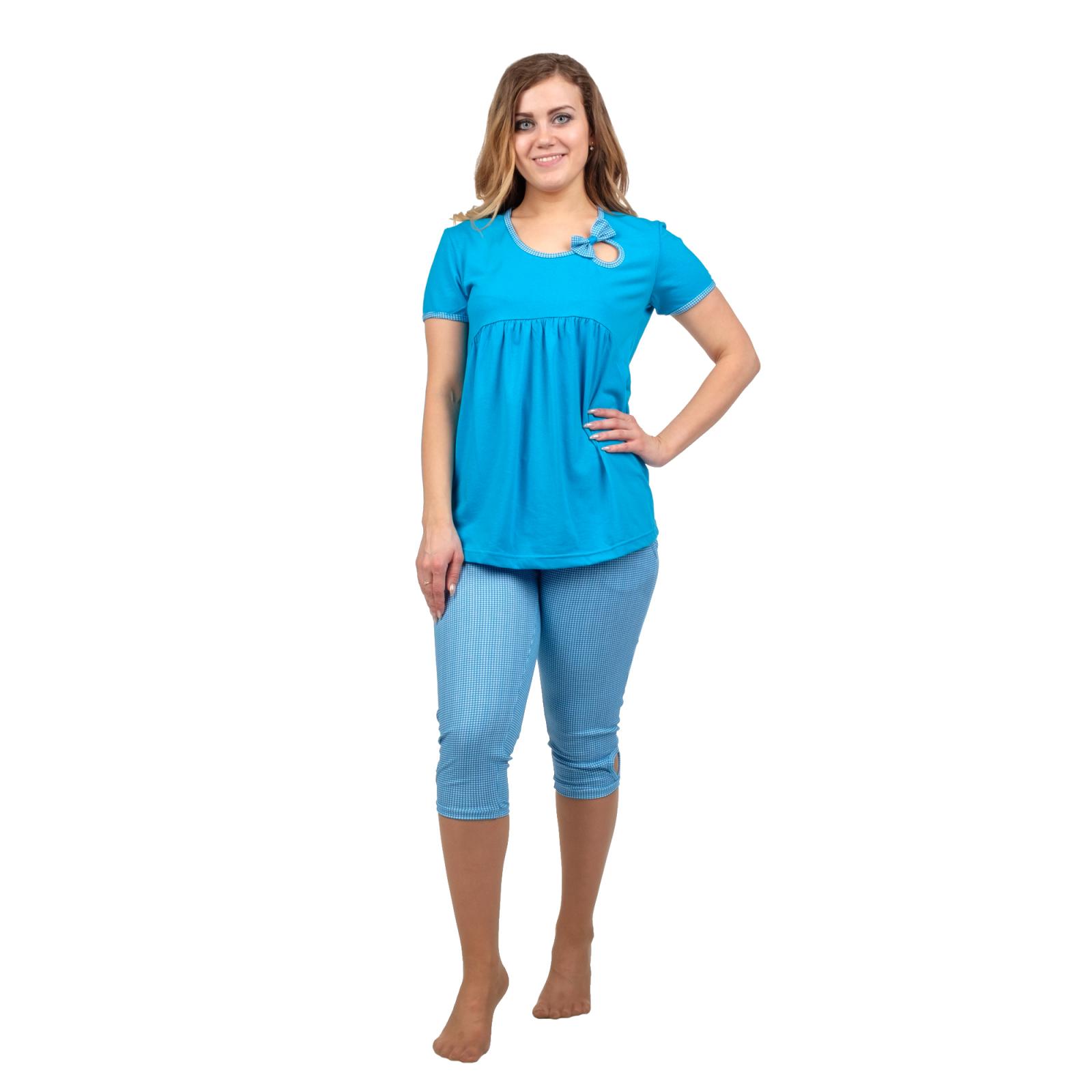 Домашний костюм Бантик (голубая клетка) М-0066Г