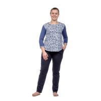 Домашний костюм Тёмно-синяя гжель брюки+блузка М-0017ТС