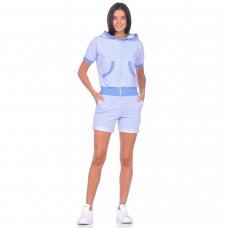 Костюм голубой (шорты + кофта на молнии с капюшоном) М-0179Г