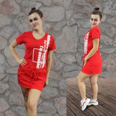 Туника красная (пике, принт) М-0083К