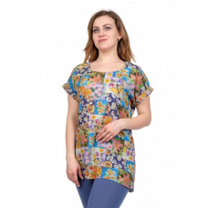 Блуза (голубые цветы) М-0111Г