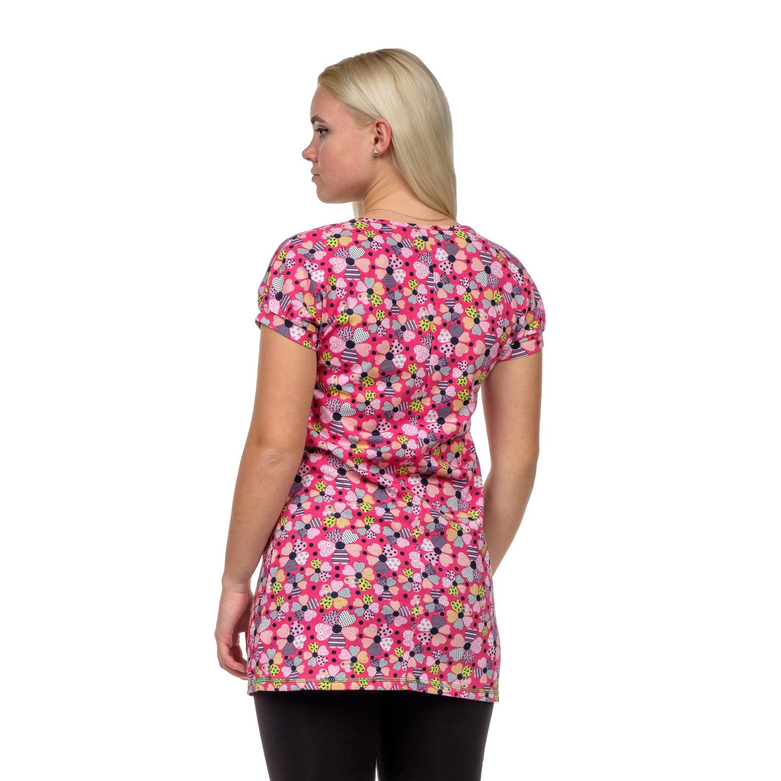 Туника с карманами розовая Цветы-сердечки М-0060