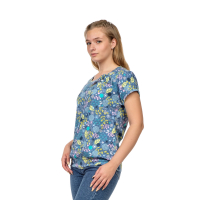 Блуза голубая Цветочки М-0085