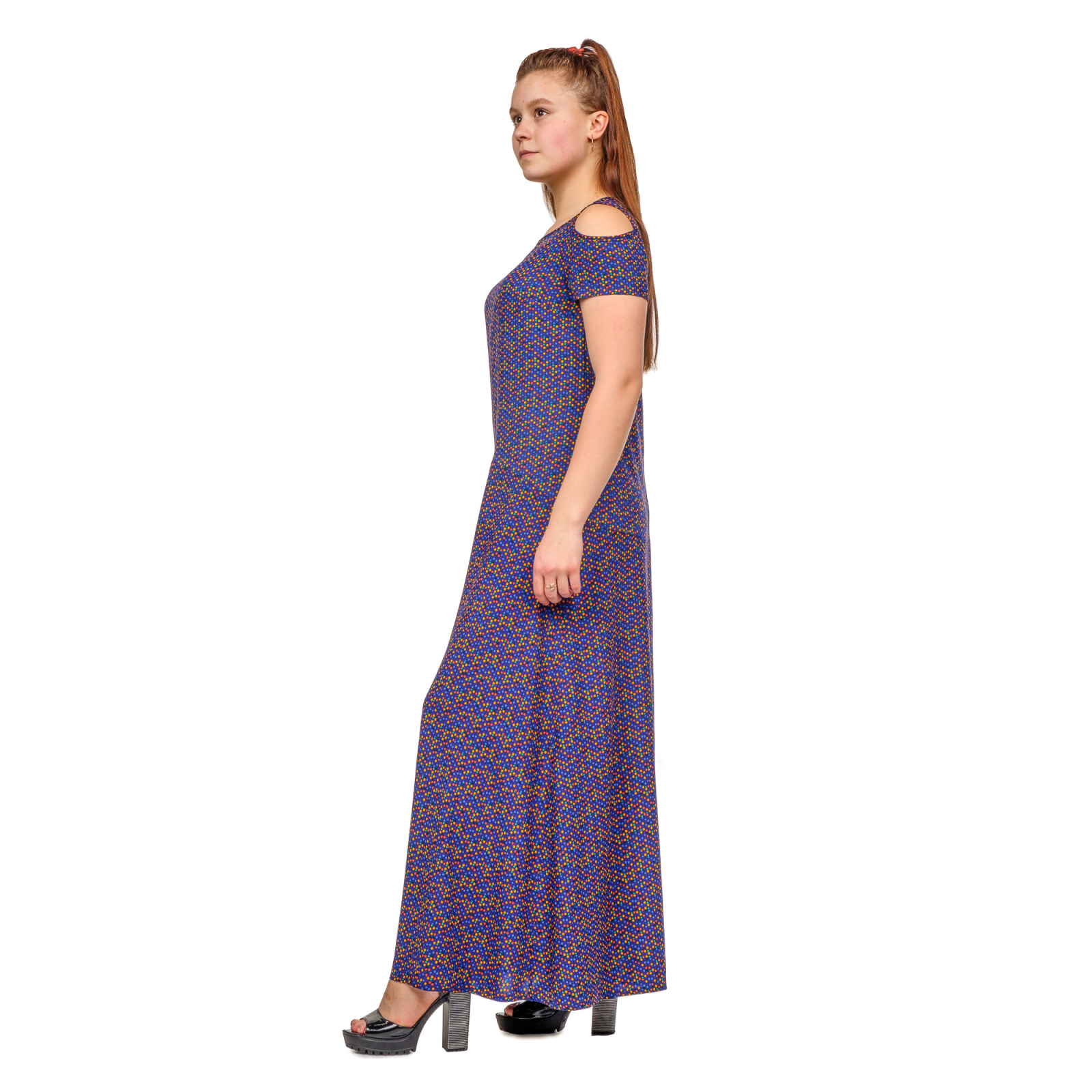 Платье длинное в ассортименте (тёмно-синее)