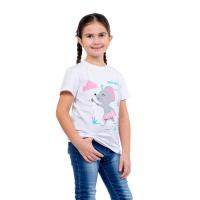 Футболка детская (белая) принт Мышка-балерина Д-0001Б