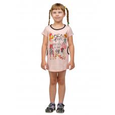 Платье детское Персик (принт - Дама с собачкой) Д-0001ПЕР