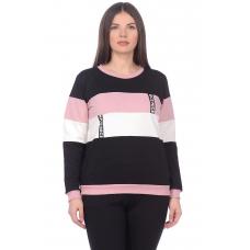 Джемпер чёрный с розовыми вставками (футер) М-162Р