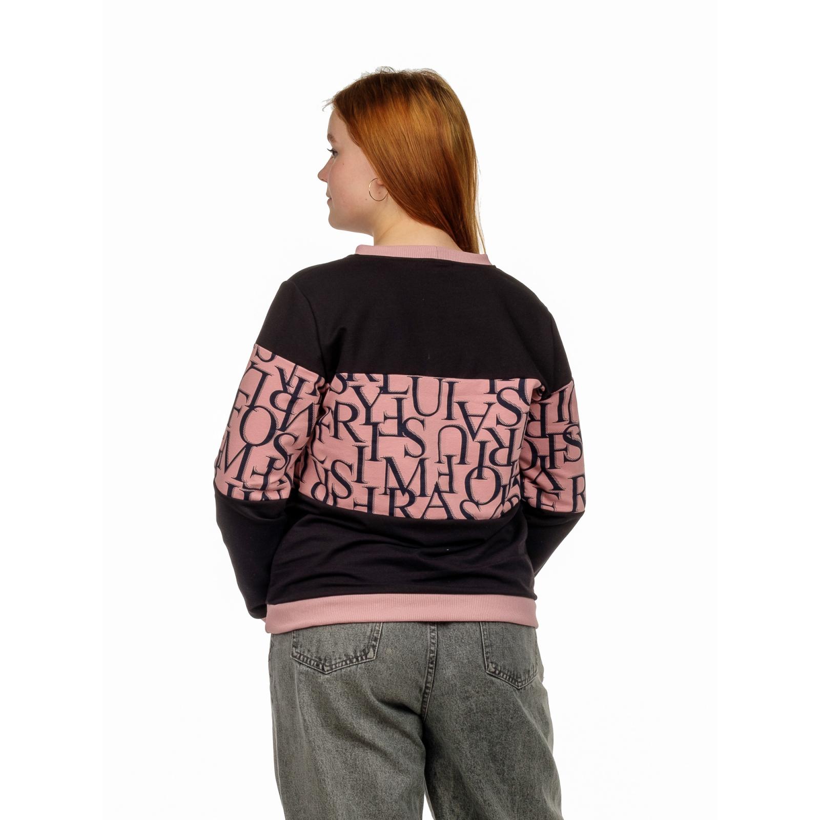 Джемпер (розовая пудра) Чёрные буквы (футер) М-0200ПУД