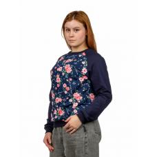 Джемпер (реглан тёмно-синий) Красные цветы  М-0039ТС