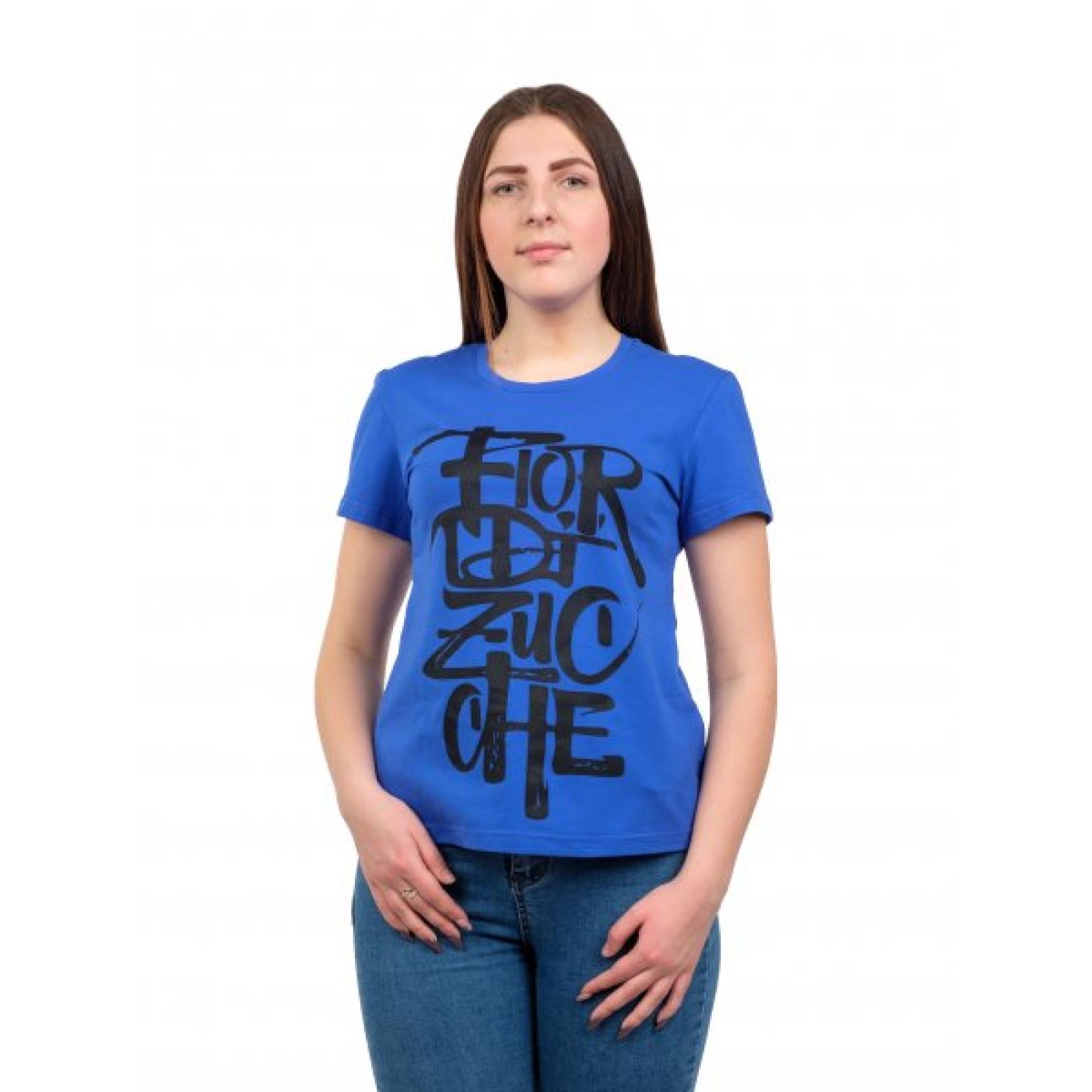 Футболка синяя (принт) Flor М-0008С
