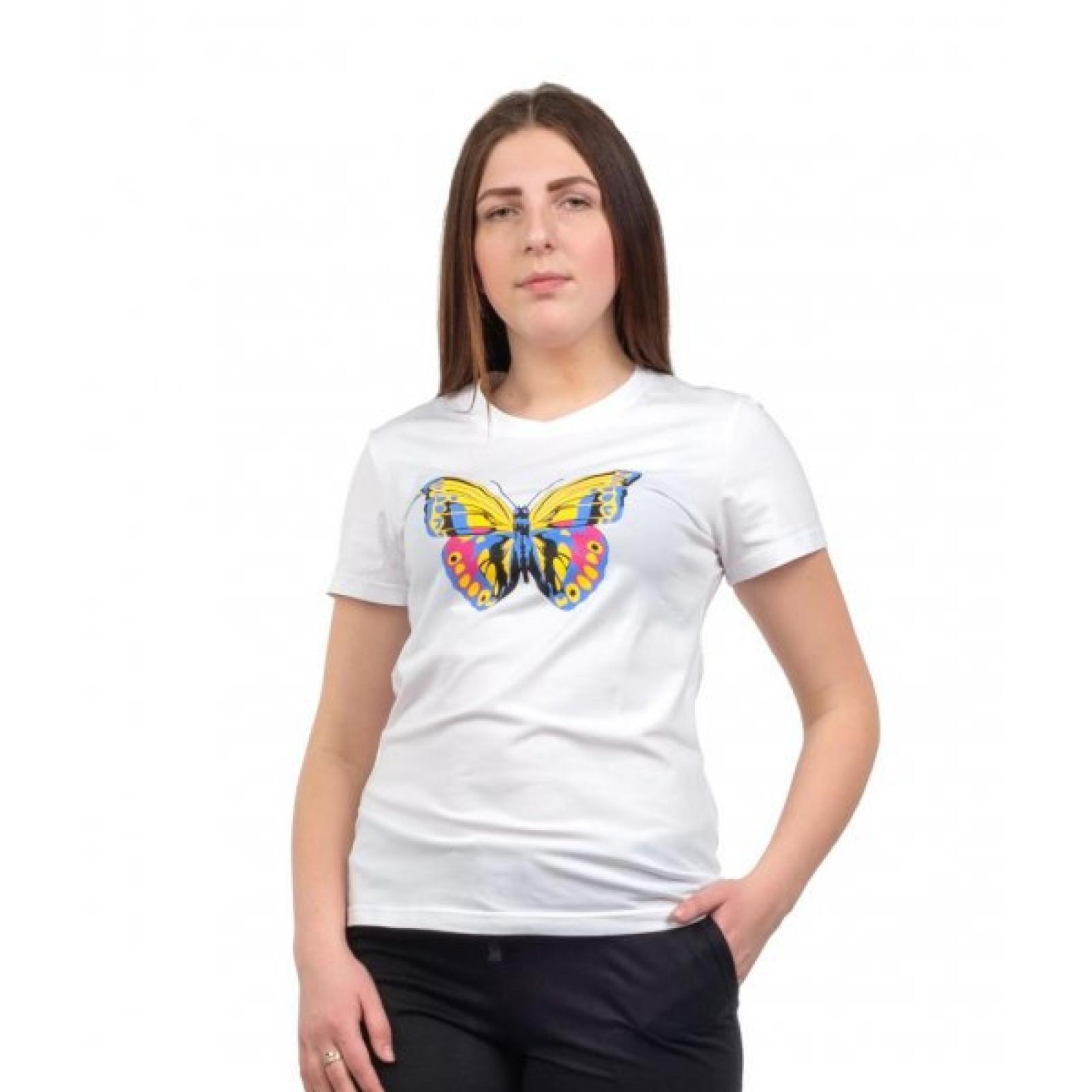 Футболка белая (принт) Бабочка М-0008