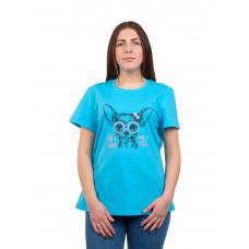 Футболка голубая (принт) Собака М-0008Г