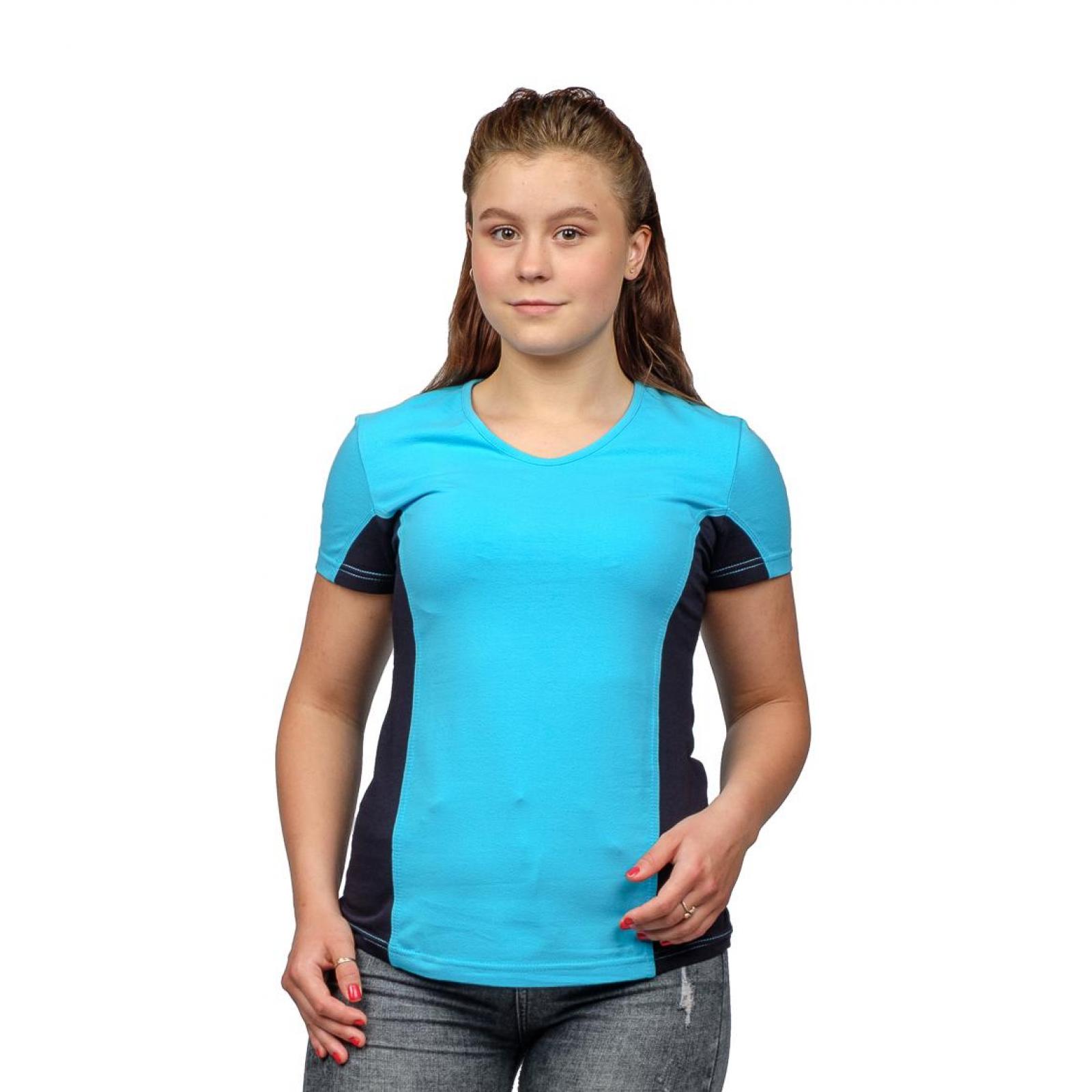 Футболка комбинированная голубая М-0043Г