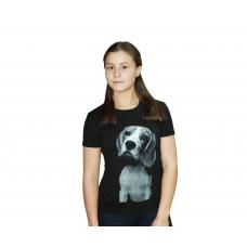 Футболка чёрная (принт) Собака М-0008Ч