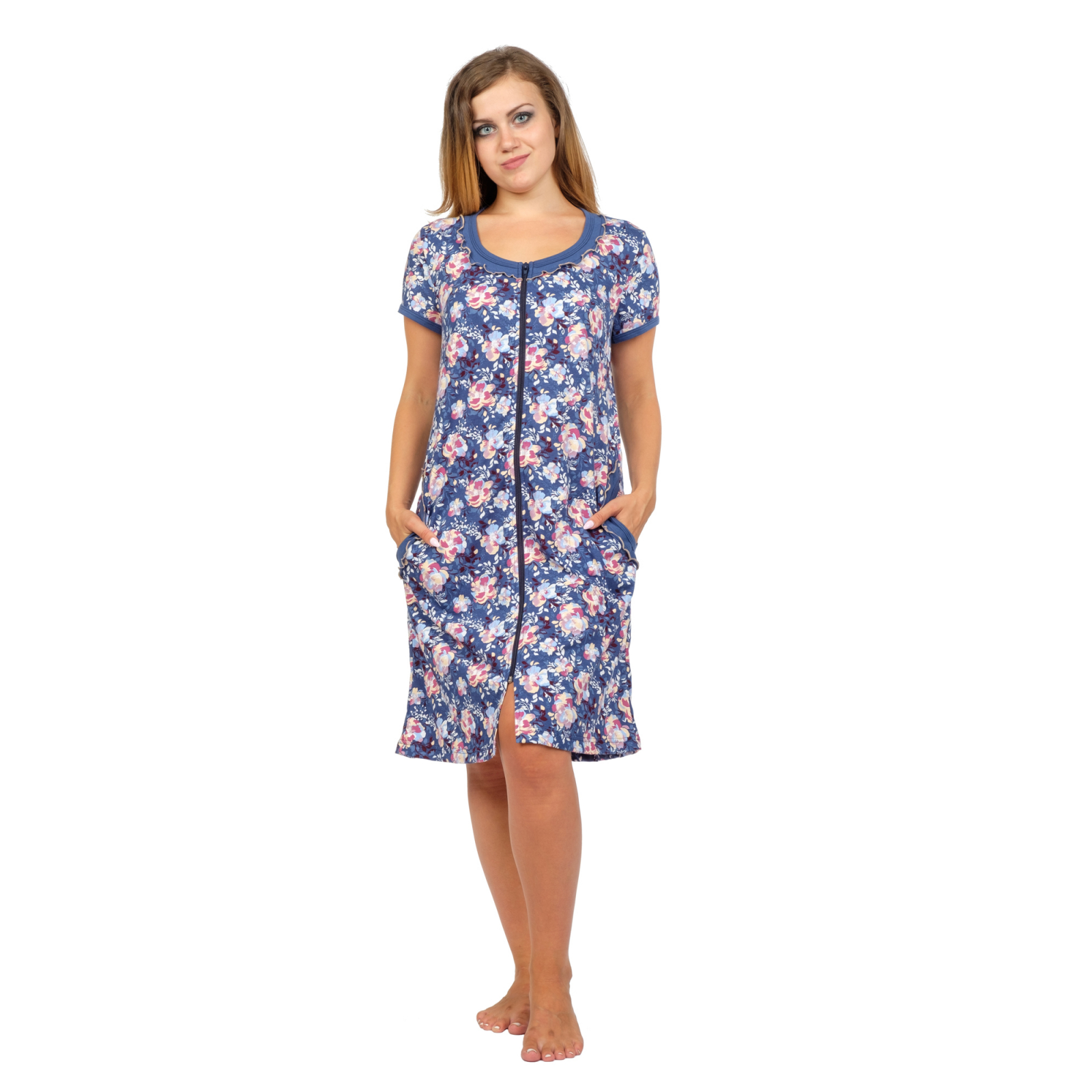 Халат Глория (т-синие цветы) М-0123ТС