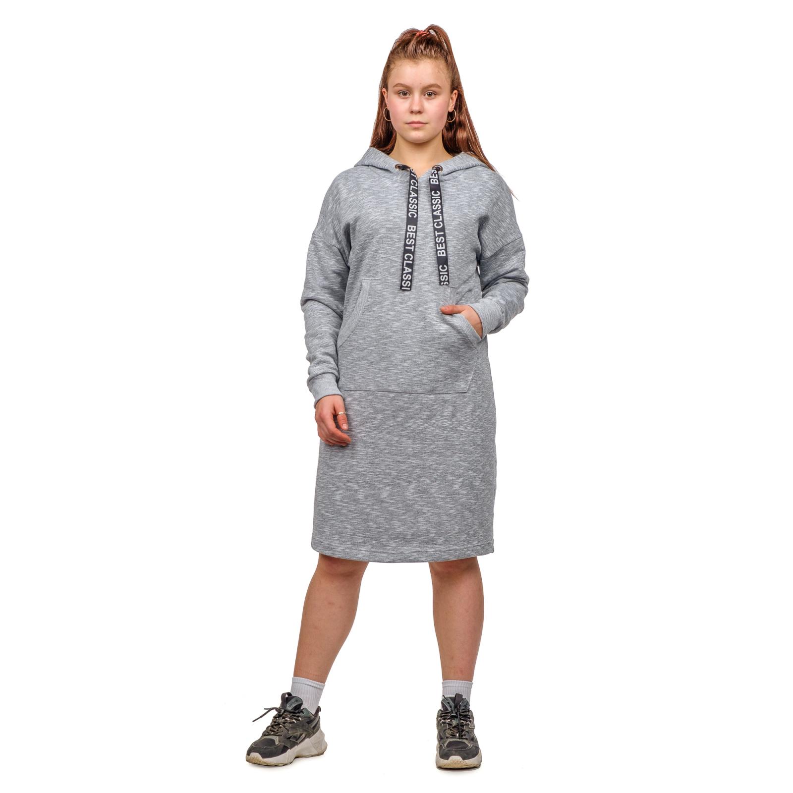 Платье серое (футер) с капюшоном М-0159СС