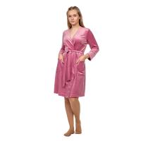 Халат (велюр) розовый М-0174Р