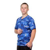 Футболка мужская (воротник-угол) синяя Алфавит С-0002С