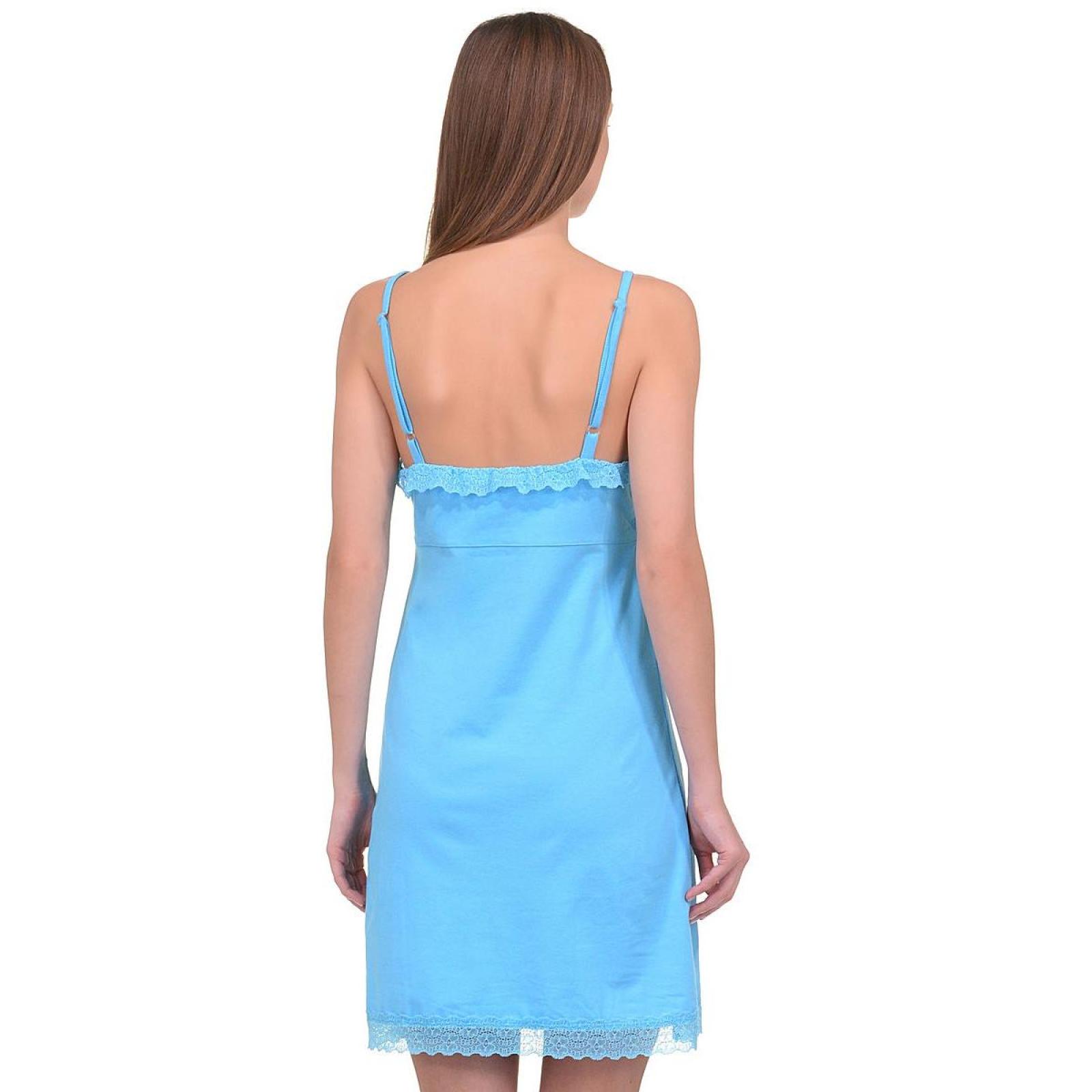 Сорочка на лямках голубая (кружево) Кристина М-0005Г