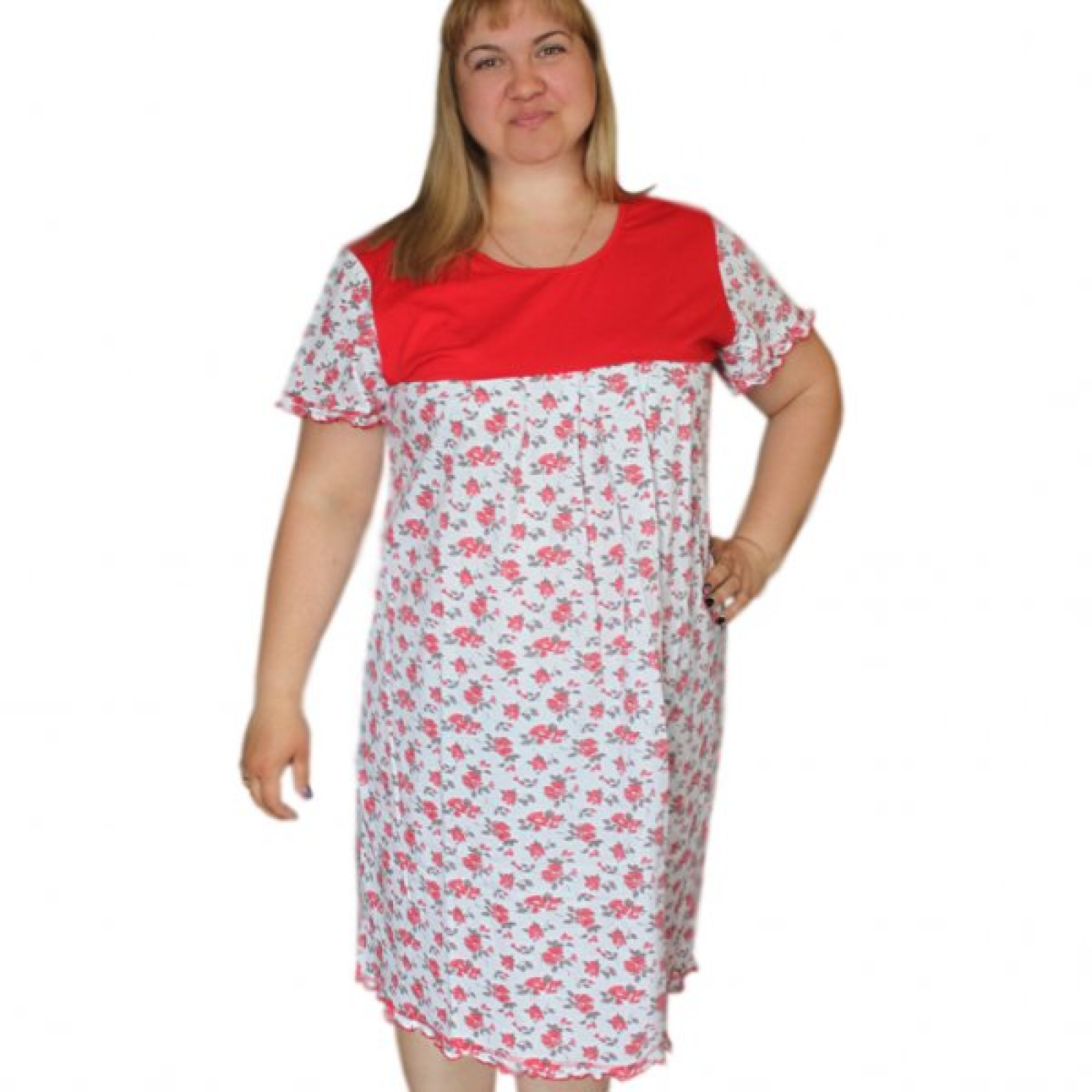 Сорочка (кокетка) Красные цветочки М-0068К