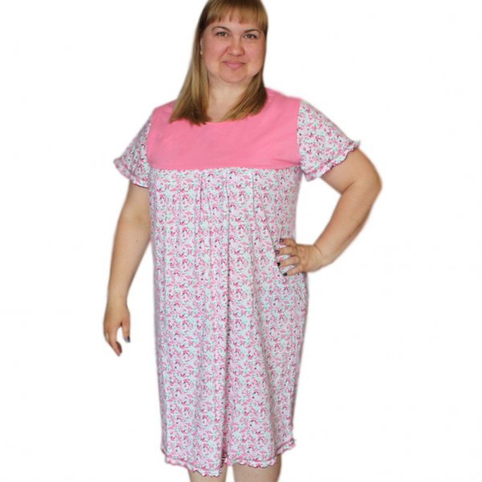 Сорочка (кокетка) Розовые цветочки М-0068Р