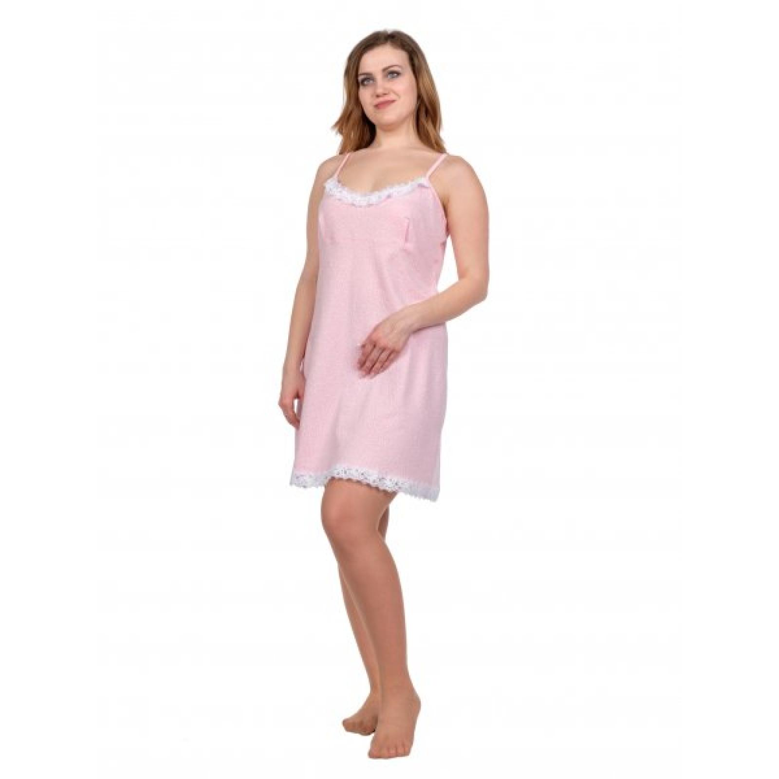 Сорочка на лямках (бледно-розовая с рисунком) М-0005Р